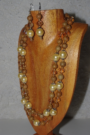 "MBAMG #100-0293  ""Gold Bead Necklace & Earring Set"""