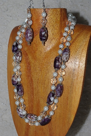 "MBAMG #100-0309   ""Purple,Clear & White Bead Necklace & Earring Set"""