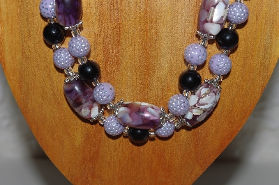 "MBAMG #100-0304  ""Purple & Black Bead Necklace & Earring Set"""