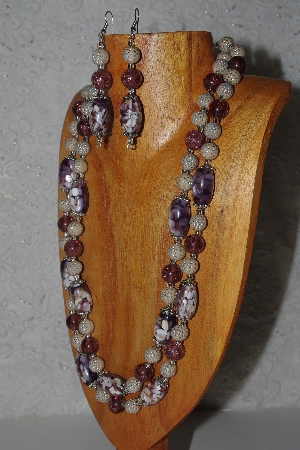 "*MBAMG #100-0298  ""Tan & Purple Bead Necklace & Earring Set"""