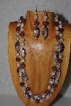 "+MBAMG #100-0298  ""Tan & Purple Bead Necklace & Earring Set"""