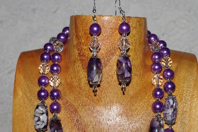 "MBAMG #100-0313  ""Purple & Clear Bead Necklace & Earring Set"""