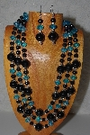 "MBAMG #100-0389  ""Blue & Black Bead Necklace & Earring Set"""