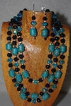 MBAMG #100-0378  Blue & Black Bead Necklace & Earring Set""