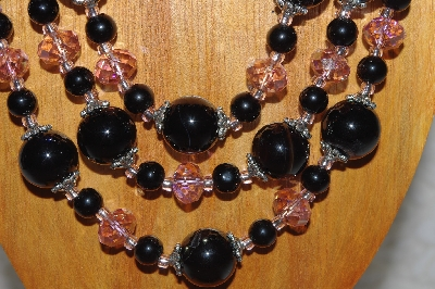 "MBAMG #100-0364  ""Black & Pink Bead Necklace & Earring Set"""