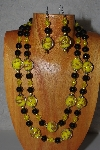 "+MBAMG #100-0359  ""Yellow & Black Bead Necklace & Earring Set"""