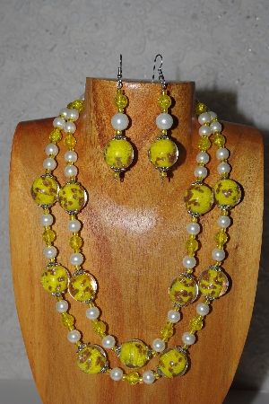 "MBAMG #100-0354  ""Yellow & White Bead Necklace & Earring Set"""