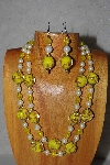 "+MBAMG #100-0354  ""Yellow & White Bead Necklace & Earring Set"""
