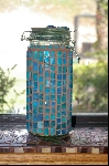 Tall Turquoise Blue Stained Glass Canister