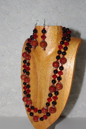 "MBAMG #100-0349  ""Red & Black Bead Necklace & Earring Set"""