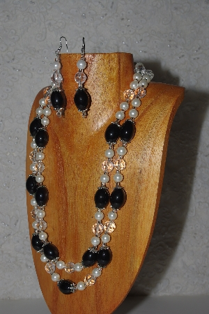 "MBAMG #100-0343  ""Black,Clear & White Bead Necklace & Earring Set"""