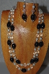 "+MBAMG #100-0343  ""Black,Clear & White Bead Necklace & Earring Set"""