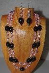 "+MBAMG #100-0338  ""Pink & Black Bead Necklace & Earring Set"""