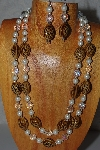 "+MBAMG #100-0334  ""Brown,White & Clear Bead Necklace & Earring Set"""