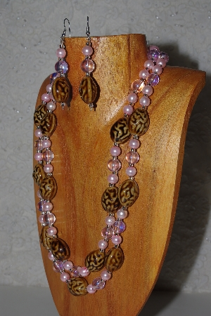"MBAMG #100-0328  ""Pink & Brown Bead Necklace & Earring Set"""