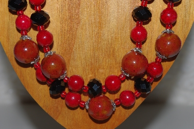 "MBAMG #100-0323  ""Red & Black Bead Necklace & Earring Set"""