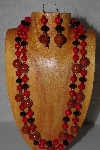 "+MBAMG #100-0323  ""Red & Black Bead Necklace & Earring Set"""