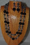 "+MBAMG #100-0318  ""Black,Blue & Grey Bead Necklace & Earring Set"""