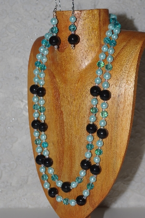 "MBAHB #033-0075  ""Black Porcelain & Mixed Bead Necklace & Earring Set"""