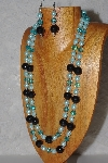 "+MBAHB #033-0075  ""Black Porcelain & Mixed Bead Necklace & Earring Set"""
