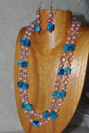 "MBAHB #033-0060  ""Crazy Lace Agate & Mixed Bead Necklace & Earring Set"""