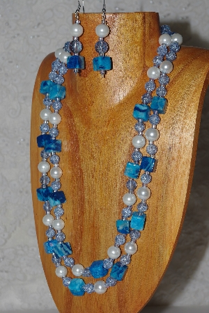 "MBAHB #033-0055  ""Crazy Lace Agate & Mixed Bead Necklace & Earring Set"""