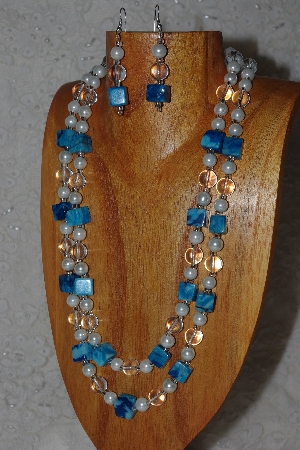 "MBAHB #033-0050  ""Crazy Lace Agate & Mixed Bead Necklace & Earring Set"""