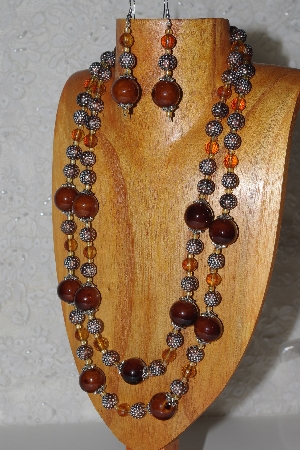 "MBAHB #033-0041   ""Brown Porcelain & Mixed Bead Necklace & Earring Set"""