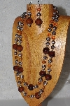 "+MBAHB #033-0041   ""Brown Porcelain & Mixed Bead Necklace & Earring Set"""