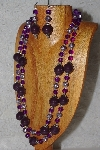 "+MBAHB #033-0034  ""Purple Porcelain & Mixed Bead Necklace & Earring Set"""