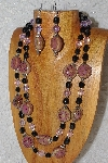 "+MBAHB #033-0028  ""Pink Porcelain & Mixed Bead Necklace & Earring Set"""