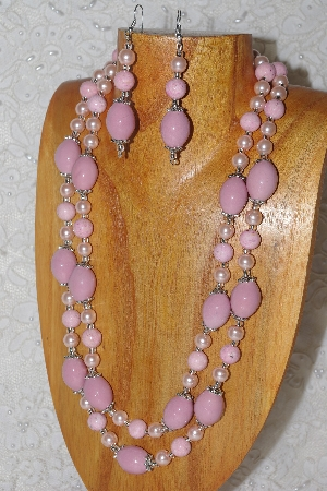 "MBAHB #033-0024  ""Pink Porcelain & Mixed Bead Necklace & Earring Set"""