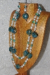 "+MBAHB #033-0018  ""Blue Porcelain & Mixed Bead Necklace & Earring Set"""