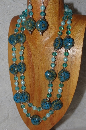 "MBAHB #033-0011  ""Blue Porcelain & Mixed Bead Necklace & Earring Set"""