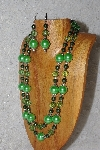 "+MBAHB #033-0006  ""Green Shell Pearl & Mixed Bead Necklace & Earring Set"""