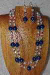 "+MBAHB #033-0001  ""Blue Shell Pearl & Mixed Bead Necklace & Earring Set"""