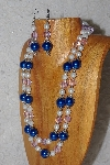 "MBAHB #033-0001  ""Blue Shell Pearl & Mixed Bead Necklace & Earring Set"""