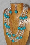 "MBAHB #33-0168  ""Blue Shell Pearl & Mixed Bead Necklace & Earring Set"""
