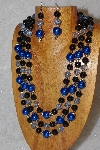 "MBAHB #033-0140  ""Bright Blue Shell Pearl & Mixed Bead Necklace & Earring Set"""
