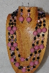 "MBAHB #033-0119  ""Pink Porcelain & Mixed Bead Necklace & Earring Set"""