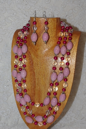 "MBAHB #033-0113  ""Pink Porcelain & Mixed Bead Necklace & Earring Set"""