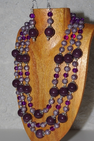 "MBAHB #033-0092  ""Purple Porcelain & Mixed Bead Necklace & Earring Set"""