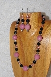 "MBAHB #033-313  ""Pink Porcelain & Mixed Bead Necklace & Earring Set"""