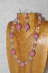 "MBAHB #033-308  ""Pink Porcelain & Mixed Bead Necklace & Earring Set"""