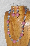 "MBAHB #033-303  ""Pink Porcelain & Mixed Bead Necklace & Earring Set"""
