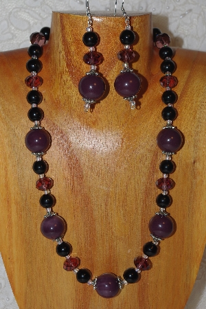 "MBAHB #033-300  ""Purple Porcelain & Mixed Bead Necklace & Earring Set"""