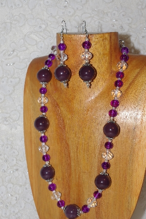 "MBAHB #033-295  ""Purple Porcelain & Mixed Bead Necklace & Earring Set"""