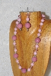 "MBAHB #033-274  ""Pink Porcelain & Mixed Bead Necklace & Earring Set"""
