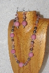 "MBAHB #033-270  ""Pink Porcelain & Mixed Bead Necklace & Earring Set"""