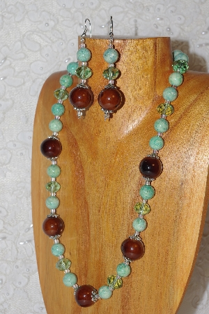"MBAHB #033-264  ""Brown Porcelain & Mixed Bead Necklace & Earring Set"""